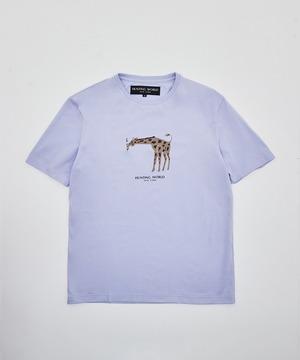 [アニマルプリントTシャツ<キリン>]ブルー6204660375メンズ&ウィメンズ