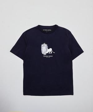 [アニマルプリントTシャツ<ライオン>]ネイビー 6204660478メンズ&ウィメンズ