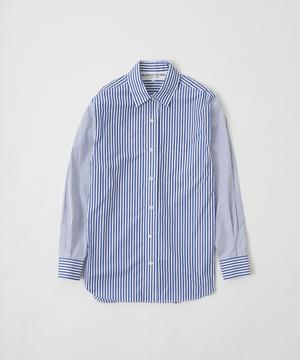 [レギュラーカラーコンビストライプシャツ ]ブルー6204725175ウィメンズ