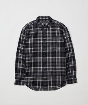 [ピースマークプリントチェックシャツ]ブラック6204620108メンズ
