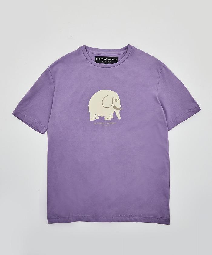 アニマルプリントTシャツ<ゾウ>パープル12TS02 PUメンズ&ウィメンズ