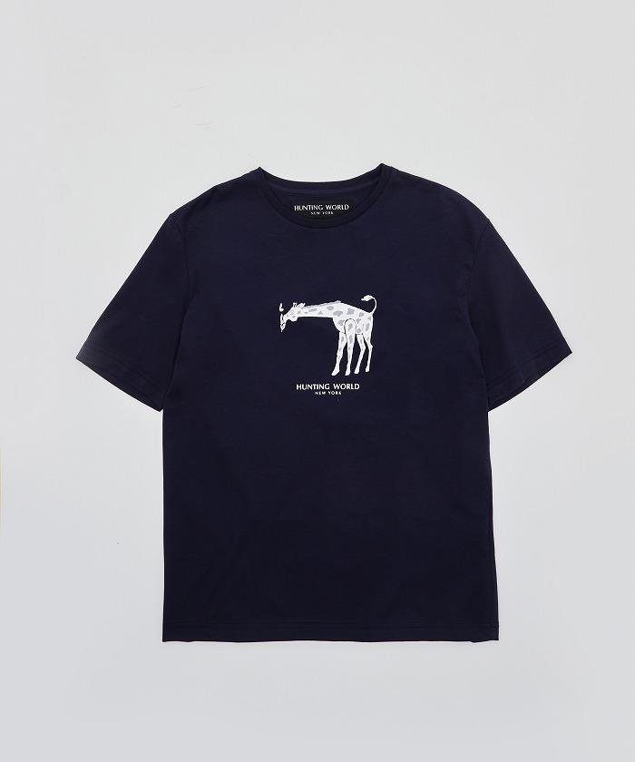 アニマルプリントTシャツ<キリン>ネイビー12TS03 NV メンズ&ウィメンズ