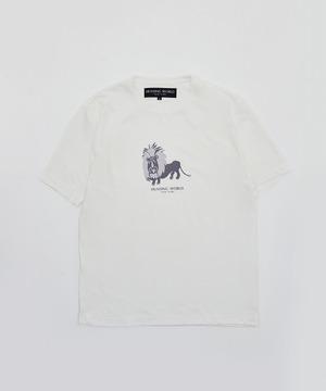 アニマルプリントTシャツ <ライオン>ホワイト12TS04 WH メンズ&ウィメンズ