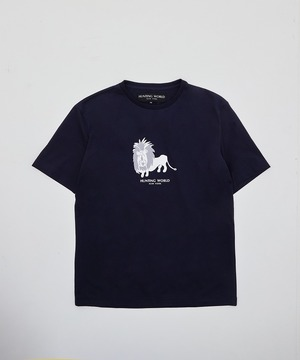 アニマルプリントTシャツ <ライオン>ネイビー12TS04 NVメンズ&ウィメンズ
