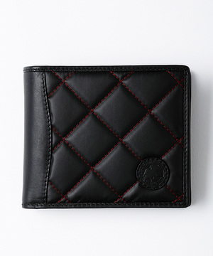 バチューサーパスキルティング[二つ折り財布]レッドステッチ96701BSQ BKREメンズ&ウィメンズ