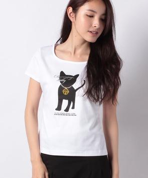 【ご自宅で洗える】キャットプリントTシャツ