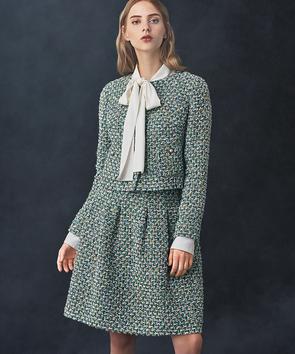 【セットアップ対応商品】リントンジェードグリーンツィードスカート
