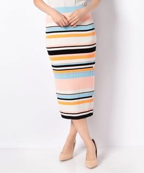 マルチボーダーリブタイトスカート