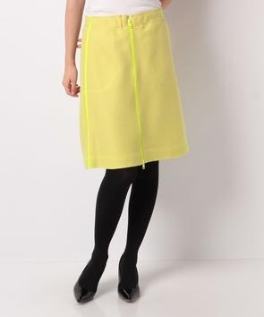 配色×ジップ台形スカート