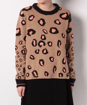レオパード模様ジャガードセーター