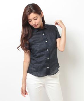 リネンドットプリントシャツ
