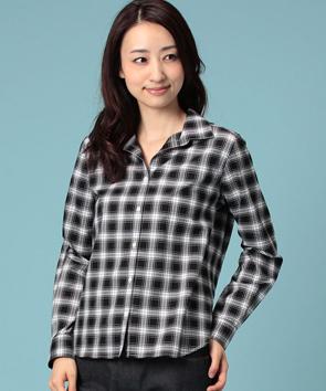 クランタータンチェックオープンカラーシャツ