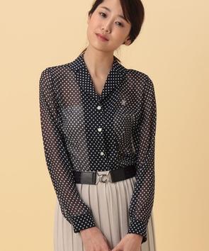 楊柳ドットプリントシャツ