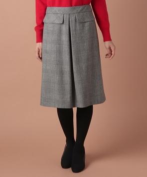 グレンチェックストレッチスカート
