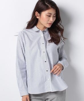WEB限定【OEPP】オックスフォードストライプラウンドカラーシャツ