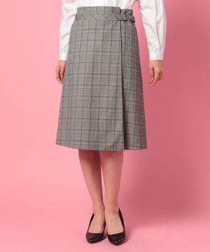 コットンチェックストレッチスカート