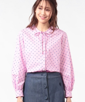 コットンドットプリントシャツ