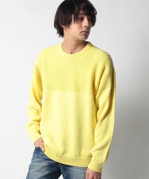 編み柄切り替えセーター
