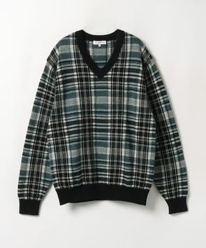 チェック柄Vネックセーター