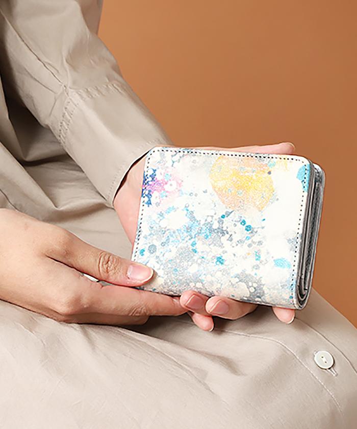 誰かの為の青 二つ折りLファスナー財布