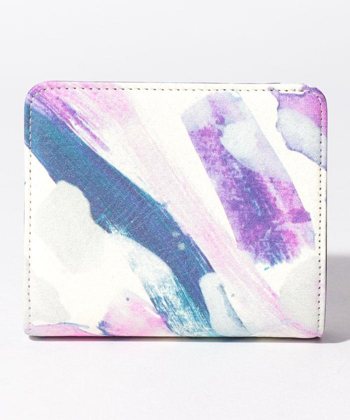 紫色の音階 二つ折りLファスナー財布