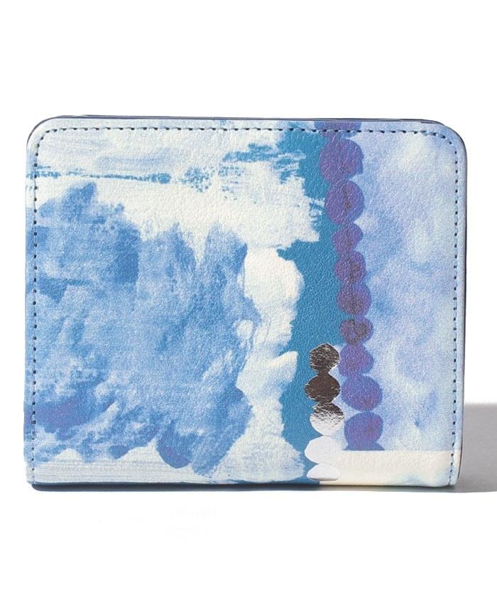 Chinese blue 二つ折りファスナー財布