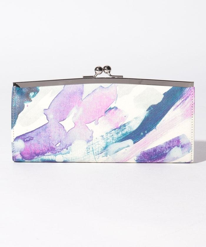 紫色の音階 外口金長財布