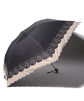 LANVIN COLLECTION 晴雨兼用傘 ミニ傘 【大判】 バイカラー ローズ 刺繍