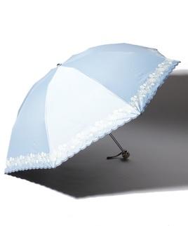 LANVIN COLLECTION 晴雨兼用傘 ミニ傘 【軽量】 花 スカラ刺繍