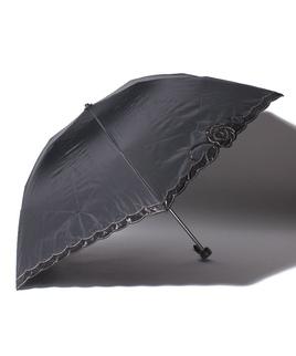 LANVIN CLLECTION(ランバンコレクション)晴雨兼用折りたたみ日傘 オーガンジーバラカットワーク