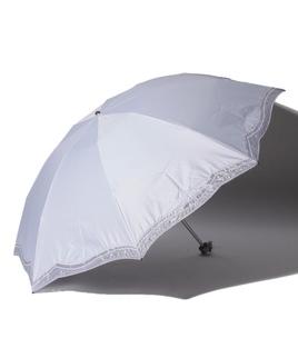 LANVIN COLLECTION(ランバンコレクション)晴雨兼用折りたたみ日傘 ラメオーガンジーカットワーク
