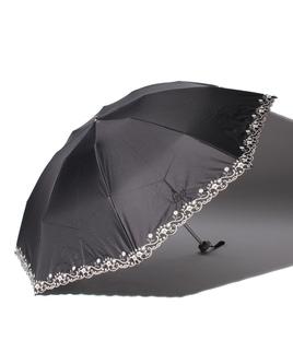 LANVIN CLLECTION(ランバンコレクション)晴雨兼用折りたたみ日傘 裾刺繍