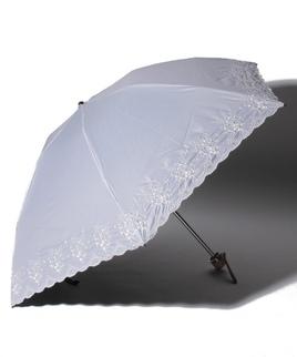 LANVIN COLLECTION(ランバンコレクション)晴雨兼用折りたたみ日傘 フラワー刺繍
