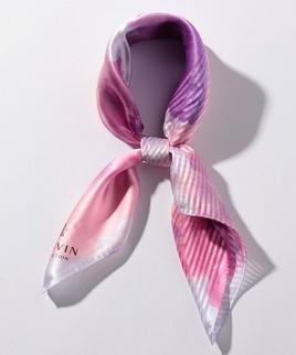 絹花柄プリントセミスカーフ