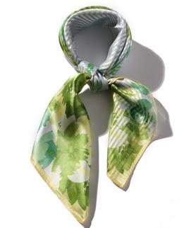 ハーフボーダー花柄セミスカーフ