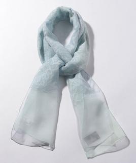 綿絹ローズ柄オパールオンブレーストール
