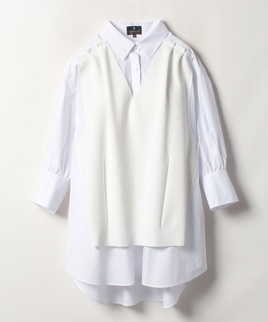 ニット重ねロングシャツ