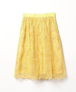 花柄刺繍シアーフレアスカート