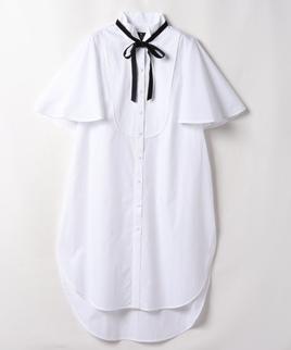 タイ付きシャツチュニック