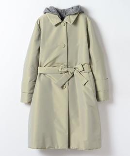 ニットパーカー付き中綿コート