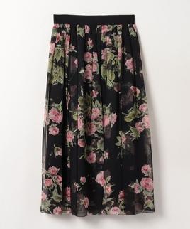 【セットアップ対応商品】花柄シルクスカート