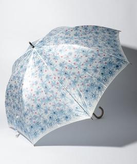 LANVIN en Blue 婦人 長傘 【耐風】 プリント 花柄