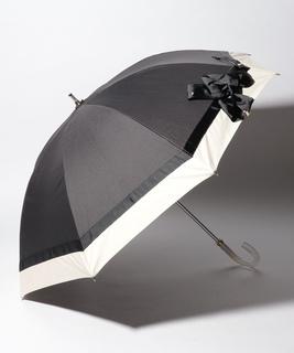 LANVIN en Blue 晴雨兼用傘 長傘 切継 リボン