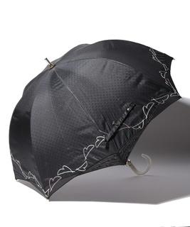 LANVIN en Blue 晴雨兼用傘 長傘 オーガンジー 刺繍