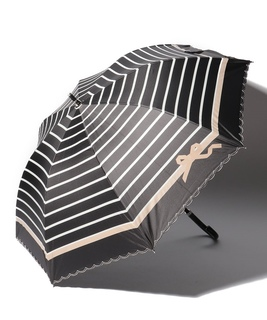 LANVIN en Blue 晴雨兼用傘 長傘 スカラ刺繍 ボーダー