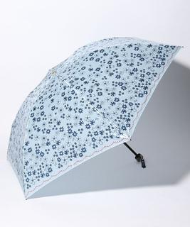 LANVIN en Blue 婦人 ミニ傘 【軽量】 サテン プリント