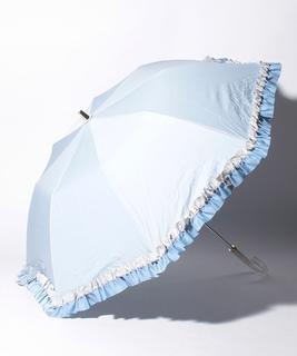 "LANVIN en Bleu 晴雨兼用折りたたみ傘 ""グログランフリル"""
