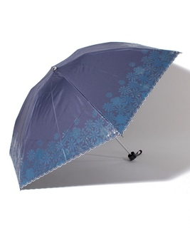 "LANVIN en Blue(ランバン オン ブルー)晴雨兼用折りたたみ傘 ""グリッタースカラ刺繍"""