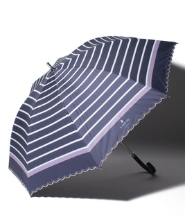 "LANVIN en Blue (ランバン オン ブルー) 晴雨兼用傘 ""ボーダー スカラ刺繍"""