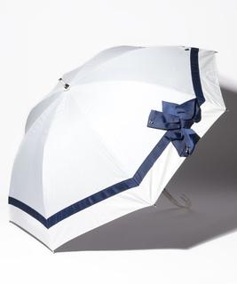 LANVIN en Blue(ランバン オン ブルー)晴雨兼用日傘 切り継ぎビジューりぼん